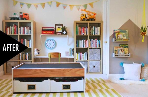modern playroom storage