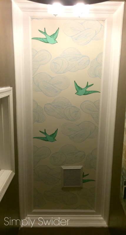 white crown molding and wallpapered bathroom ceiling Simply Swider