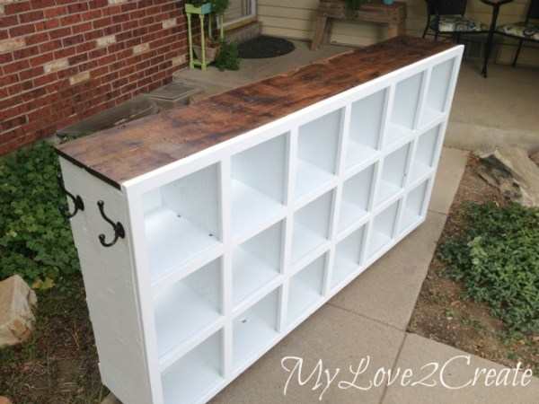 white cubby shelf with stained wood top My Love 2 Create