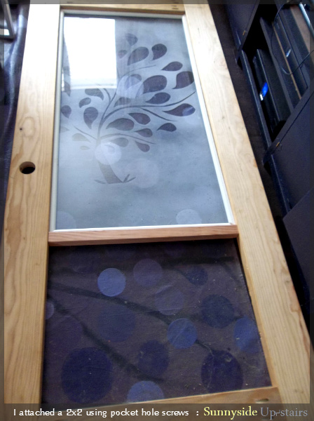 Build a Frosted Glass Pane Entry Door by Sunnyside Up-stairs featured on @Remodelaholic