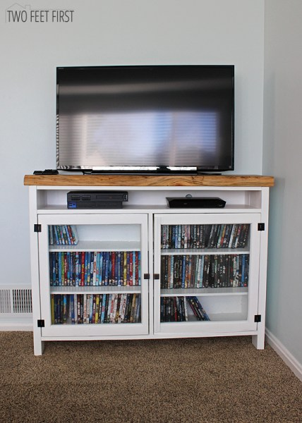 Build a TV Console Using Old Windows by Two Feet First featured on @Remodelaholic