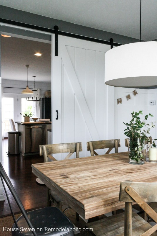 Build a sliding barn door for a dining room - House Seven on @Remodelaholic