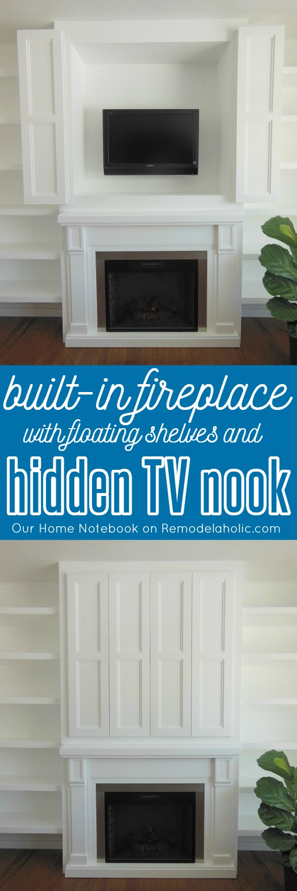 Built-in Fireplace Surround with Floating Shelves and Hidden TV Nook