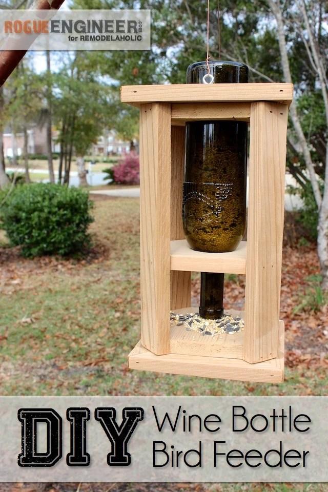 DIY Wine Bottle Bird Feed - Free Tutorial - Rogue Engineer on Remodelaholic.com