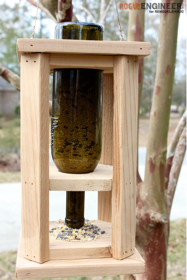 Remodelaholic Diy Wine Bottle Bird Feeder