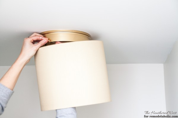 Ban your boob light! Change it to a drum shade fixture in as little as five minutes, no tools required!
