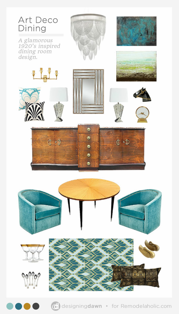 Call back the 1920's with a classically beautiful Art Deco style dining room - favorite decor pieces + tips for giving the style a modern touch
