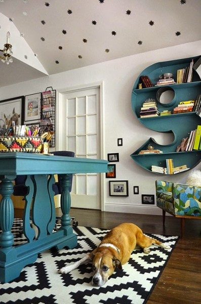 Gorgeous home office with monogram shelf by The Happy Homebodies featured on @Remodelaholic