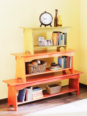Stacked Bench Bookcase - Learn to build the benches from Remodelaholic.com, image and assembly from BHG