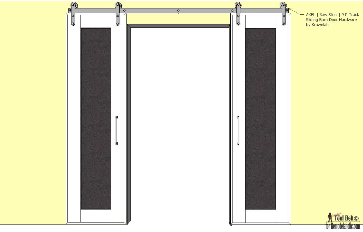 Remodelaholic Diy Double Sliding Doors With Chalkboard