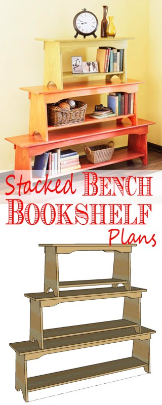 Building plan: 3 different sized benches, can then be used separately or stacked and secured to make a unique stacked bench bookshelf - Remodelaholic.com