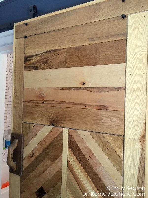 build chevron barn door with herringbone details