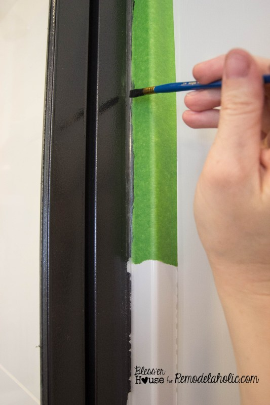 how to paint a shower door to look like a factory window, industrial style