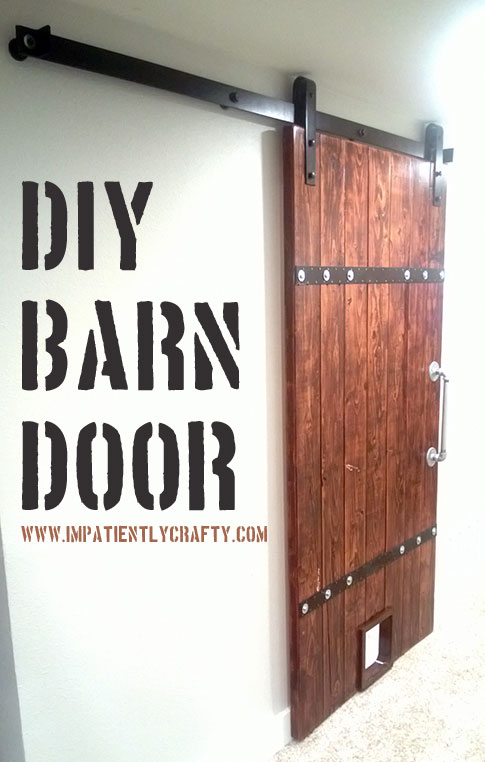 Genial Easy Wood Barn Door With Pet Door And Industrial Metal Accents    Impatiently Crafty