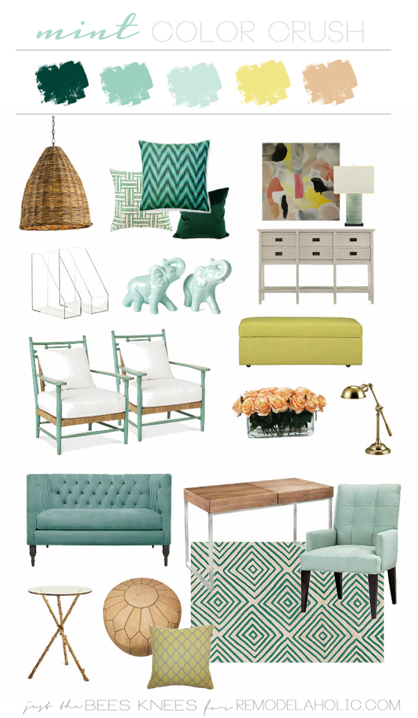 Color Crush: Decorating with Mint -- love the coral and yellow paired with the light green mint!