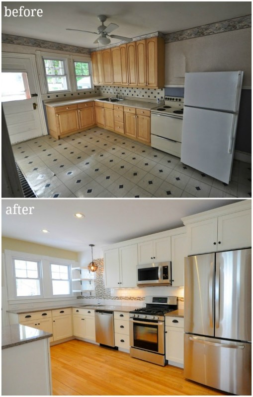 updated traditional contemporary kitchen in duplex with tile backsplash and creamy white cabinets open shelving before and after - SoPo Cottage on @Remodelaholic