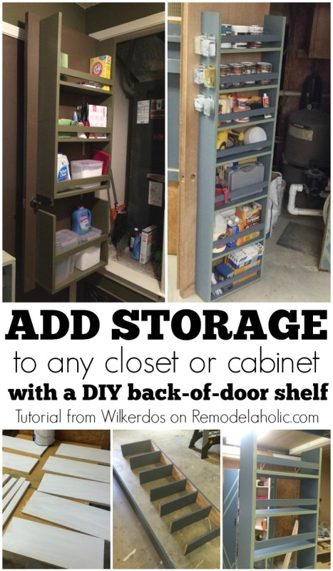 Add closet or cabinet storage by building a shelf on the back of the door -- video tutorial included! Wilkerdos on @Remodelaholic