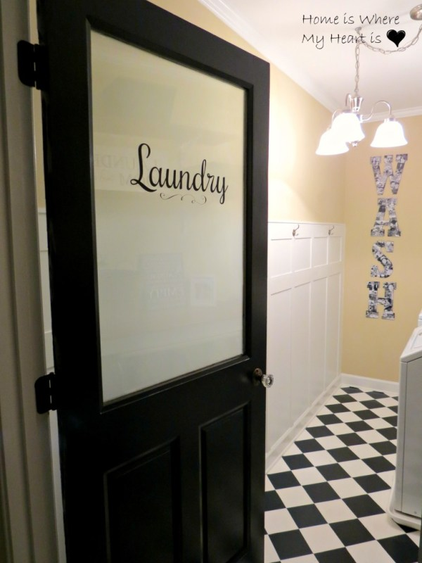 Beautiful Doors - black frosted glass laundry room door with crystal knob - Linda Home Is Where My Heart Is