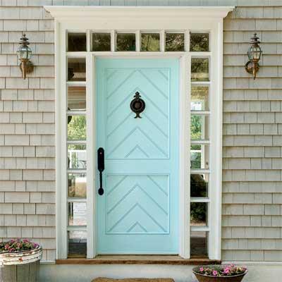 Beautiful Doors - entry door with herringbone accent in Behr Cool Jazz via This Old House