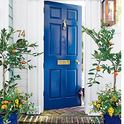 Beautiful Doors - front door in Benjamin Moore Gentleman's Gray via Southern Living