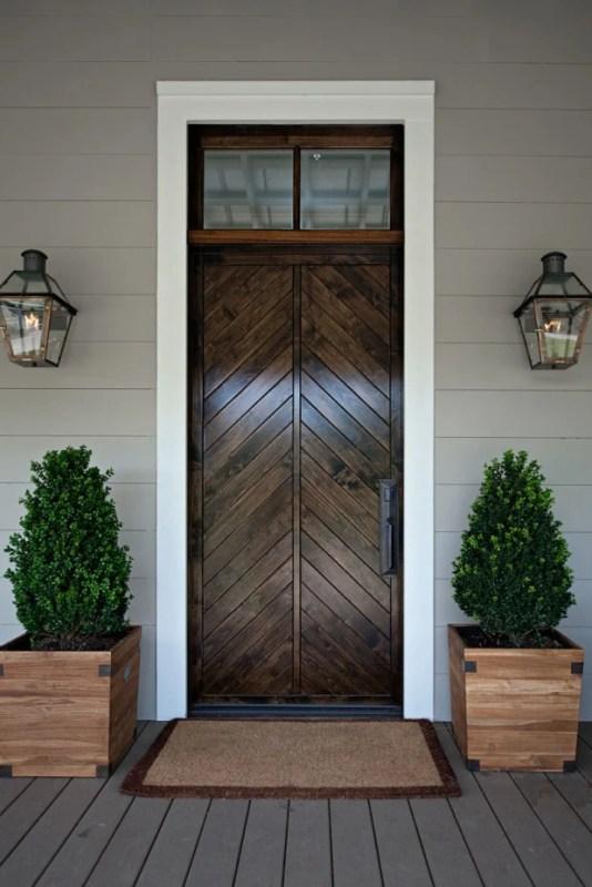 Beautiful Doors - split chevron wood front door via Style BluePrint