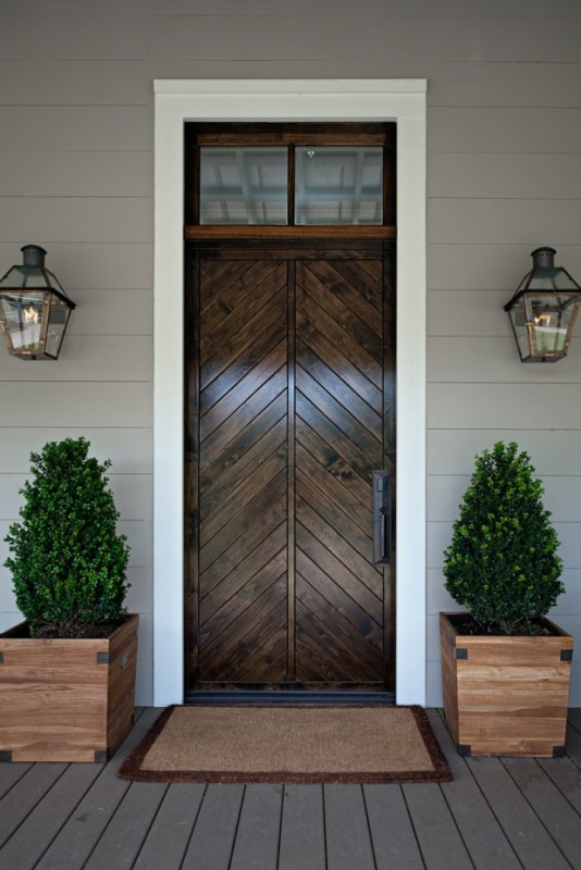 Beautiful Doors - split chevron wood front door via Style BluePrint