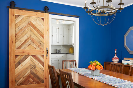 Beautiful Doors - wood barn door with blue wall This Old House