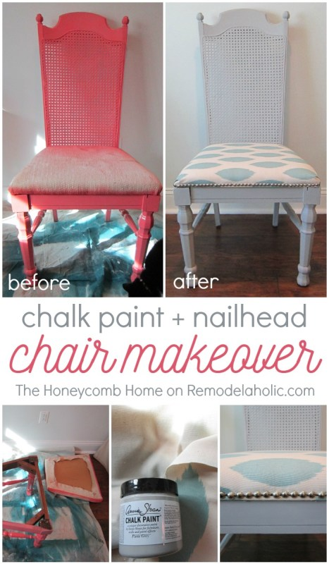 DIY cane chair makeover -- chalk paint, new fabric, and nailhead trim - The Honeycomb Home on @Remodelaholic