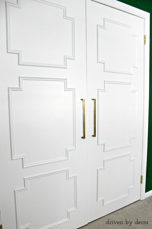 How to Add Moulding to Plain Closet Doors by Driven by Decor featured on Remodelaholic