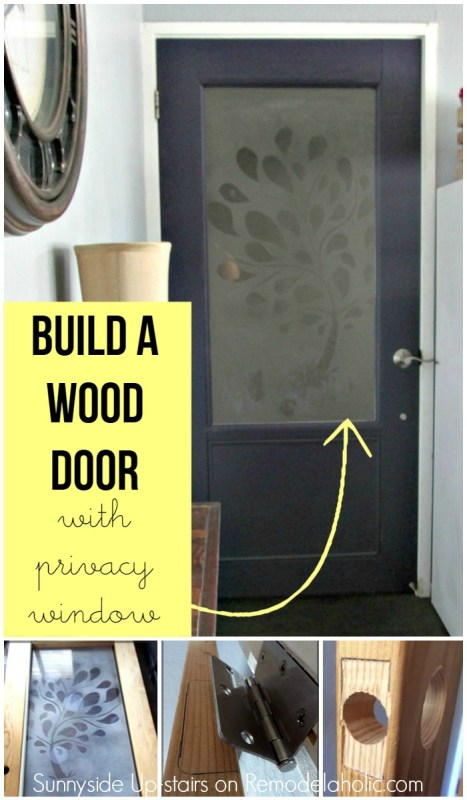 How to build a wood door from scratch, with a frosted plexiglass window - including adding hinges and a knob and latch @Remodelaholic