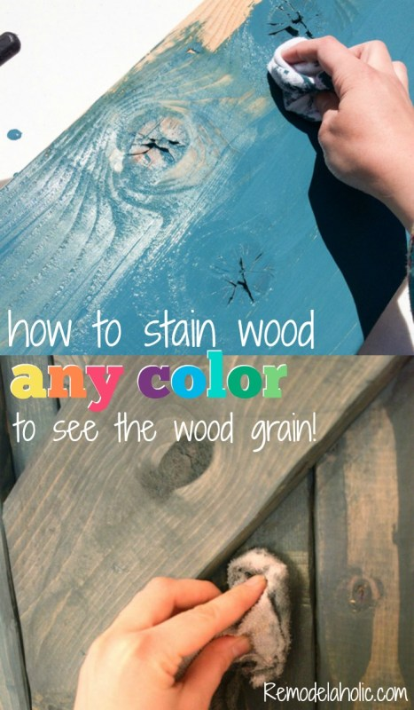 How to use paint to stain wood any color -- the wood grain still shows through @Remodelaholic