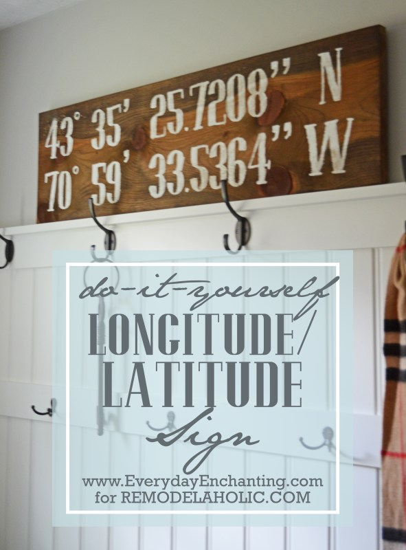 Easy DIY rustic reclaimed wood latitude-longitude sign -- personalize it with your home or other important coordinates, like where you were married
