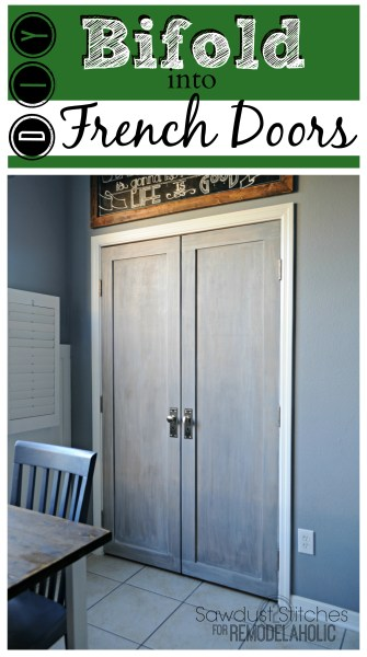 Turn bifold doors into french doors Sawdust2stitches for Remodelaholic.com