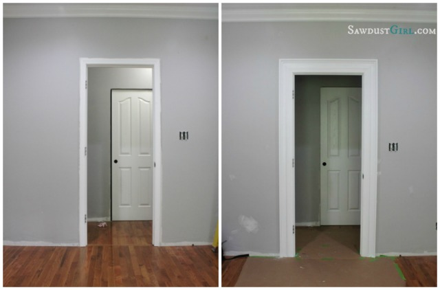 add molding to create thicker chunky door trim and frame - Sawdust Girl & Remodelaholic | Best DIY Door Tips: Installation Framing and Hardware