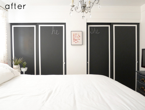 black painted flat closet doors update via DesignSponge