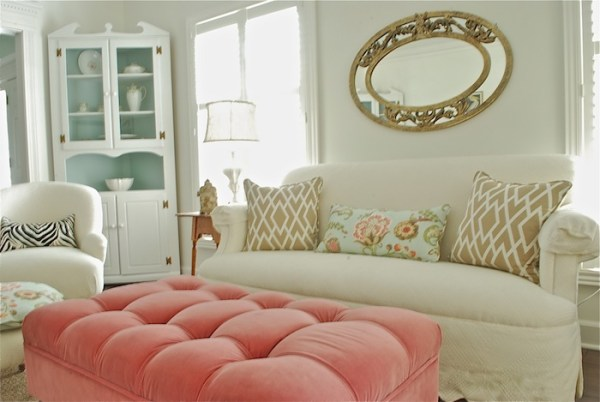 bright living room makeover with mint and coral accents