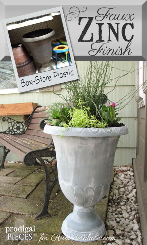 DIY Faux Zinc Finish on a Garden Urn Planter - use this easy 2-step painting trick to make anything look old like this!