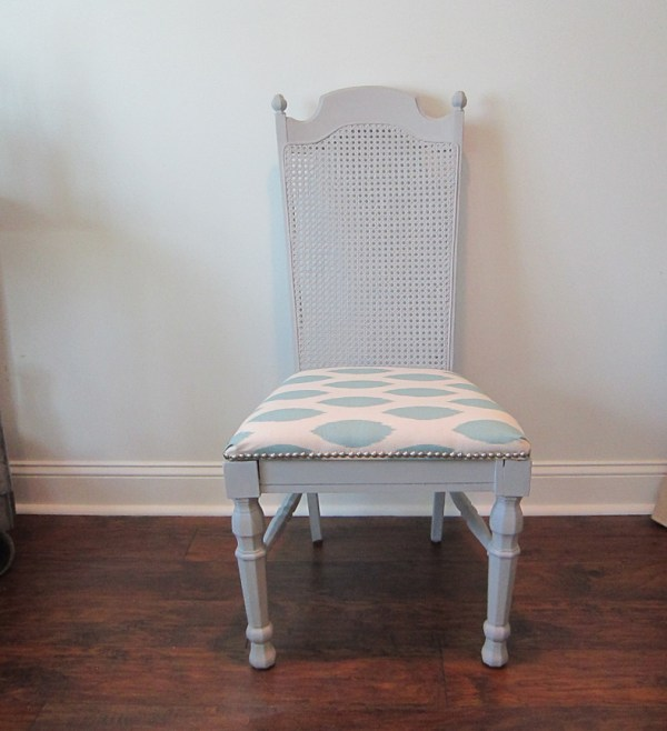 finished old chair makeover using chalk paint and nailhead trim - The Honeycomb Home on @Remodelaholic