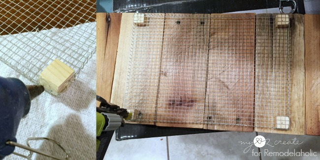 hot glue wood squares to hardware cloth and nail to pallet boards