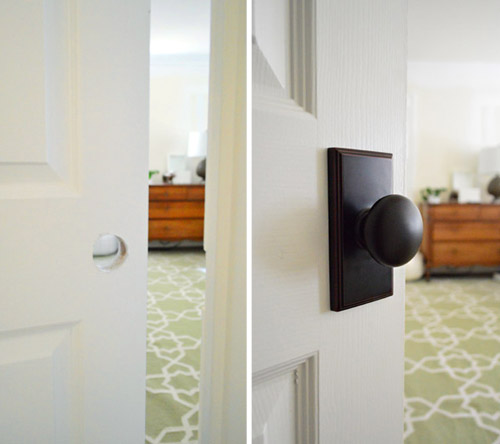 installing new door knobs - Young House Love