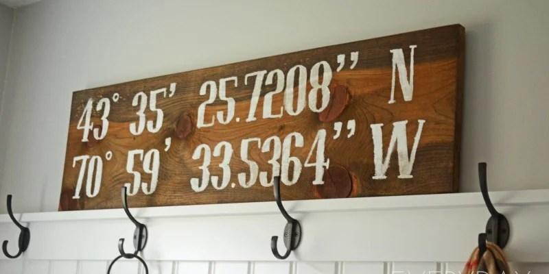 DIY Reclaimed Wood Longitude-Latitude Sign