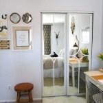 mirrored closet door makeover - The Honeycomb Home