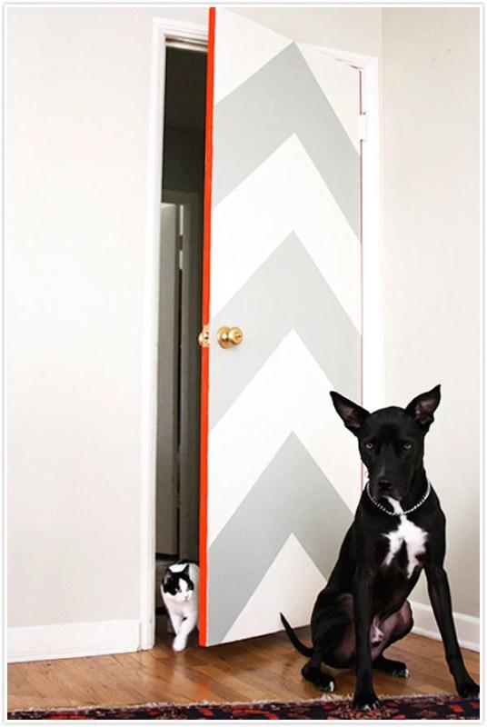 painted chevron door - Camille Styles