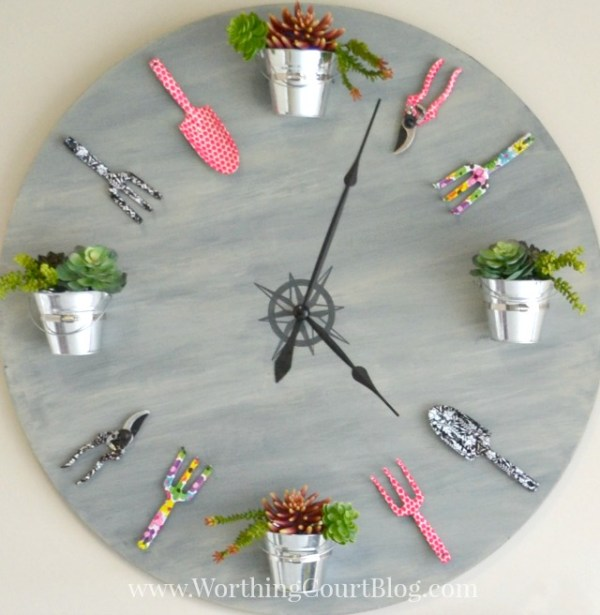 painted projects - large garden clock from a tabletop Worthing Court Blog