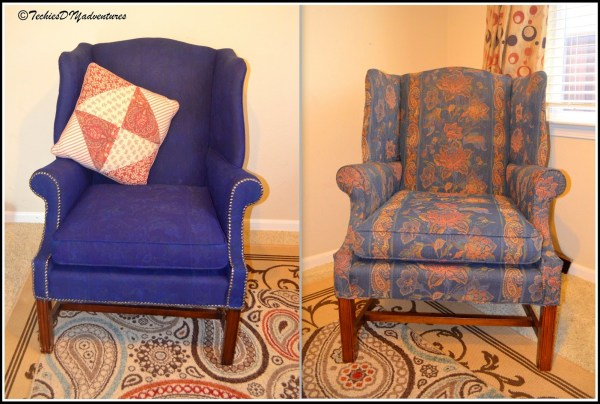 painted projects - painted upholstered wingback chair Techies DIY Adventures
