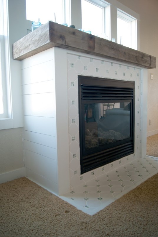 painted projects - planked white wood and tile fireplace makeover Averie Lane