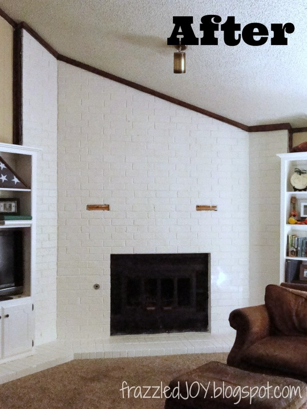 painted projects - white painted brick mantel Frazzled Joy