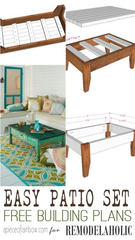 Build an easy DIY patio set -- one bench or two, plus a coffee table makes for perfectly cozy outdoor space!