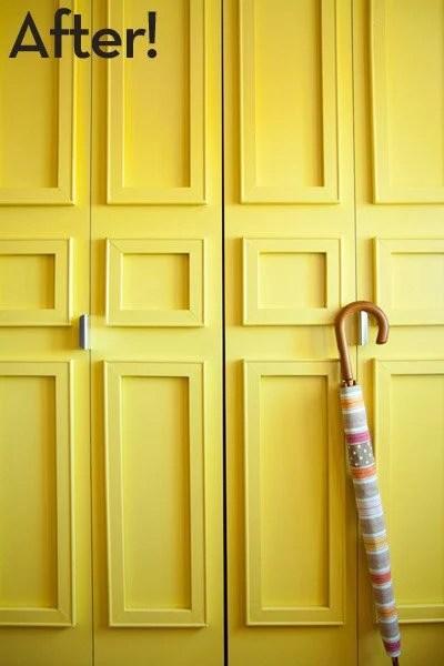 renter-friendly removable trim closet door update via Curbly