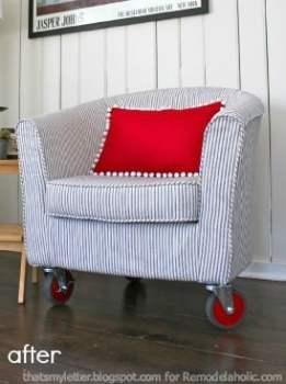 reupholstered tub chair via @Remodelaholic